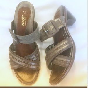 NAOT MARVEL SIENNA COFFEE/PEWTER SANDALS.  NEW